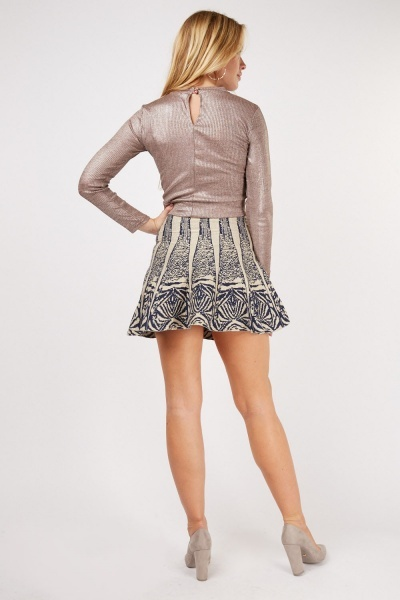 Metallic Flared Mini Skirt