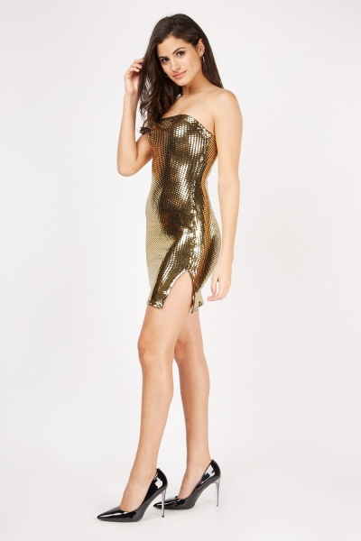 Metallic Scale Pattern Bandeau Dress