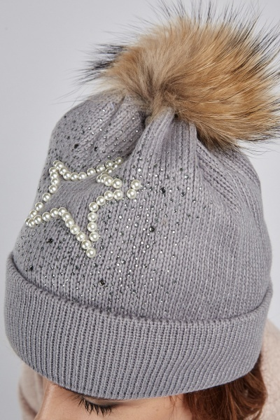 Embellished Knitted Beanie Hat