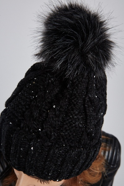 Sequinned Cable Knit Beanie