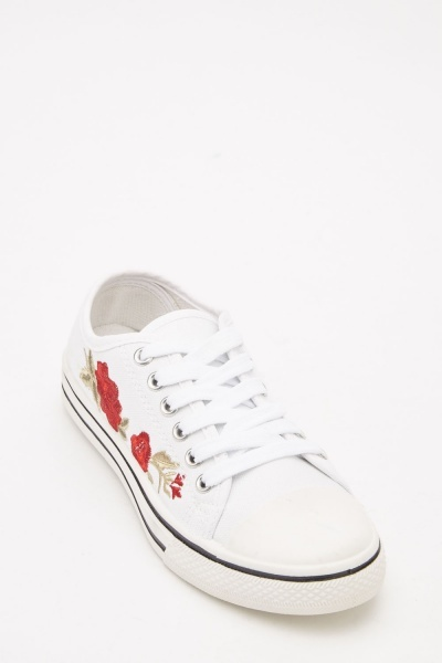 Embroidered Floral Lace Up Trainers