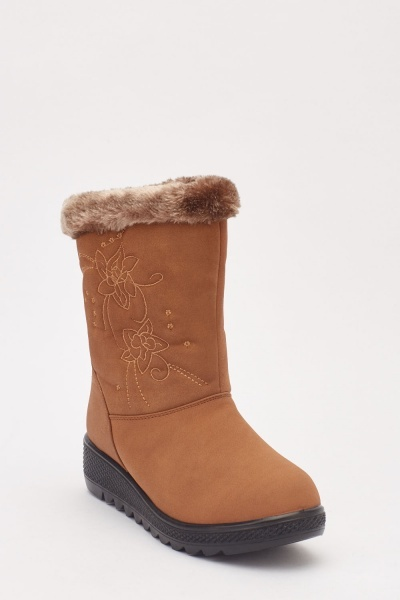 Embroidered Side Winter Boots