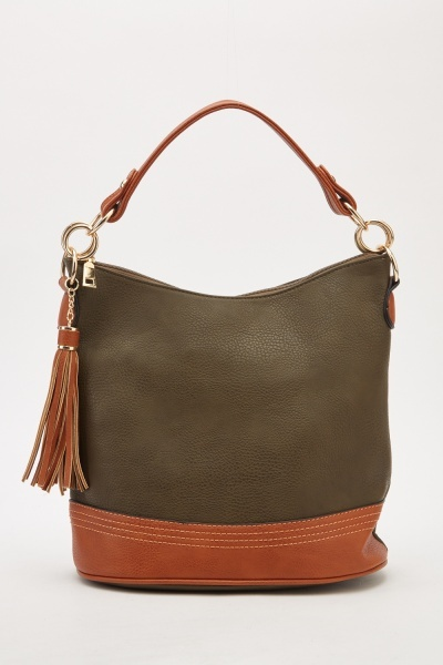 Faux Leather Contrasted Bag
