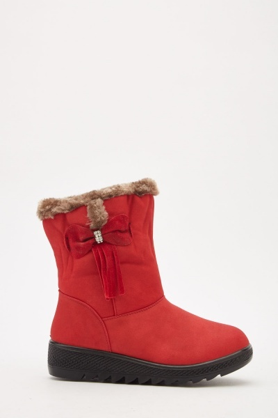Fur Trim Side Detail Boots