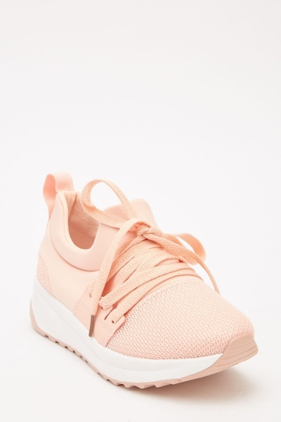 Multi-Tonal Lace Up Trainers