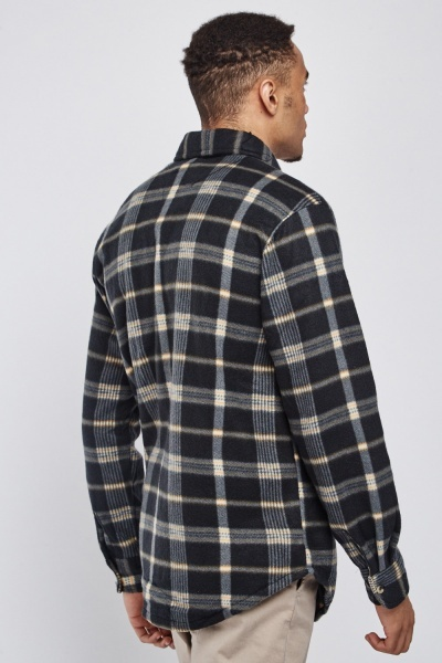 Basic Poly-Fleeced Plaid Over Shirt