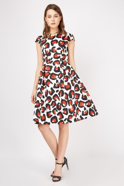 Cap Sleeve Animal Print Dress