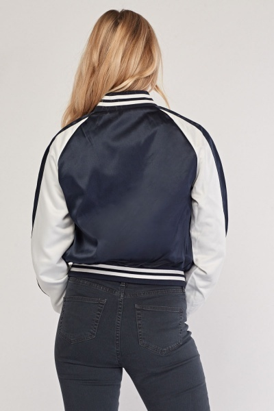 Colour Block Sateen Bomber Jacket