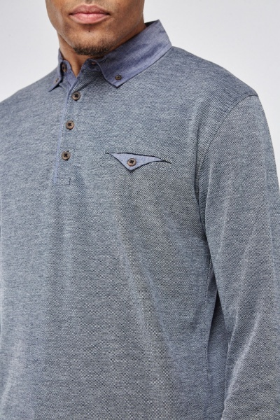 Long Sleeve Speckled Polo Shirt
