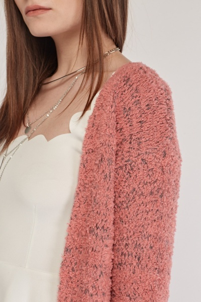 Open Front Eyelash Knitted Cardigan