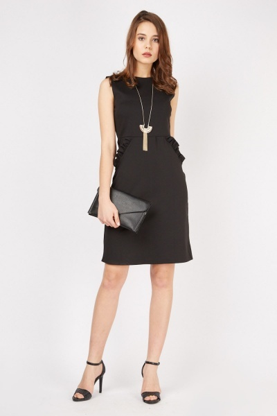 Sleeveless Ruffle Trim Midi Dress