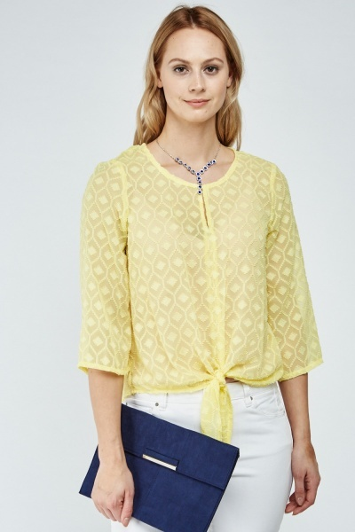 Tie Up Sheer Textured Blouse