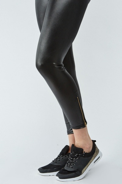 Zip Detail Faux Leather Leggings