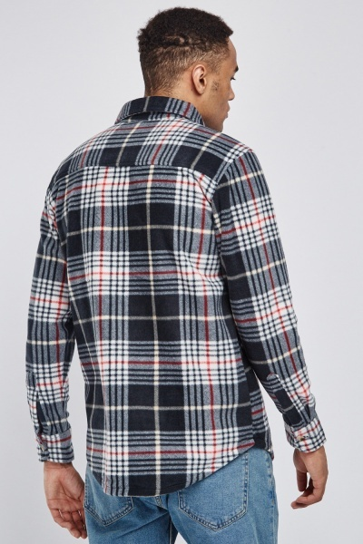 Casual Long Sleeve Poly-Fleeced Plaid Shirt