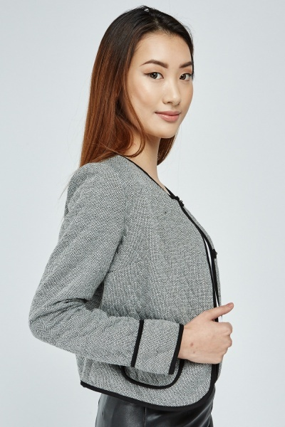 Diamond Patterned Cropped Jacket
