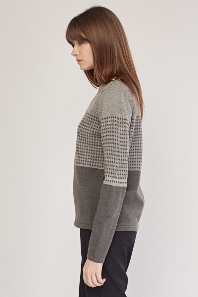 Dotted Pattern Knitted Jumper