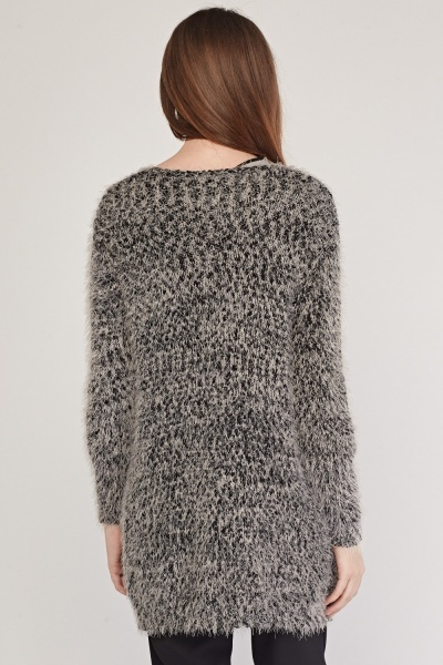 Eyelash Knit Contrasted Cardigan