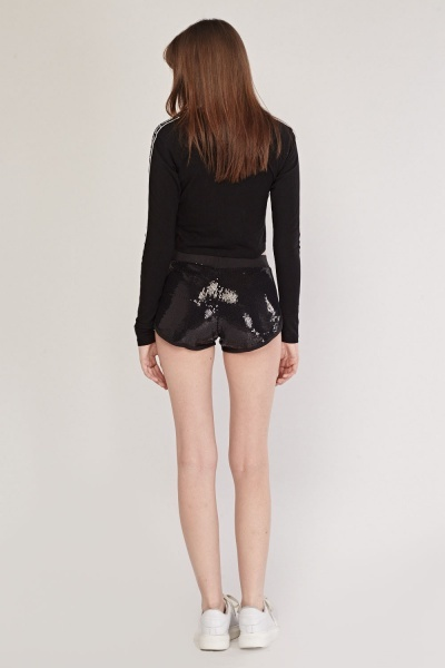 Heavily Sequinned Embellished Mini Shorts