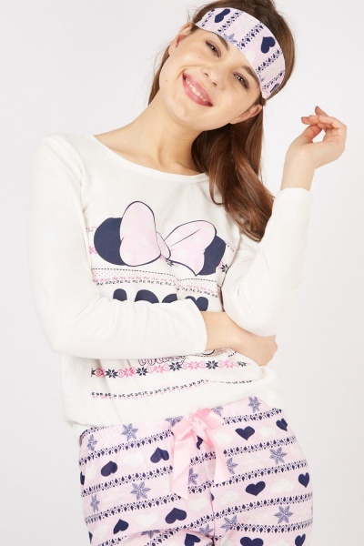 Minnie Mouse Print Pyjama Set