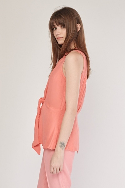 Tie Up Ruched Shell Top