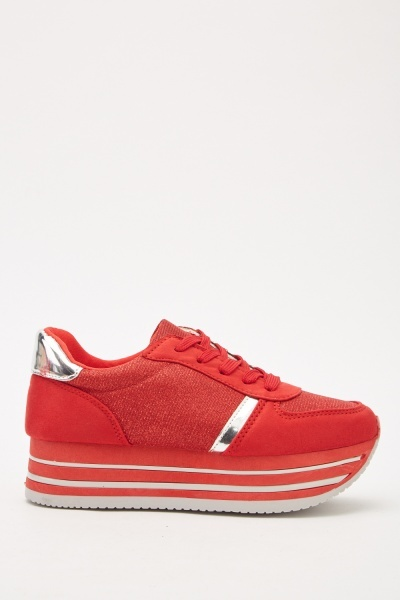 Contrasted Lace Up Low Top Trainers