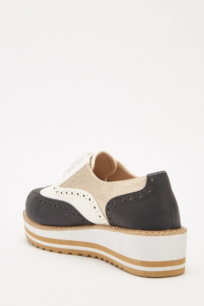 Contrasted Laser Cut Wedge Shoes
