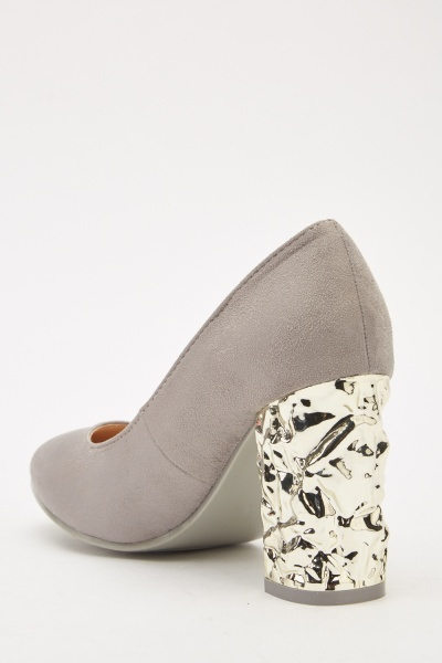 Suedette Block Heeled Pumps