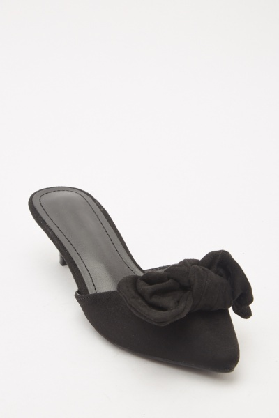 Suedette Bow Front Kitten Heel Shoes
