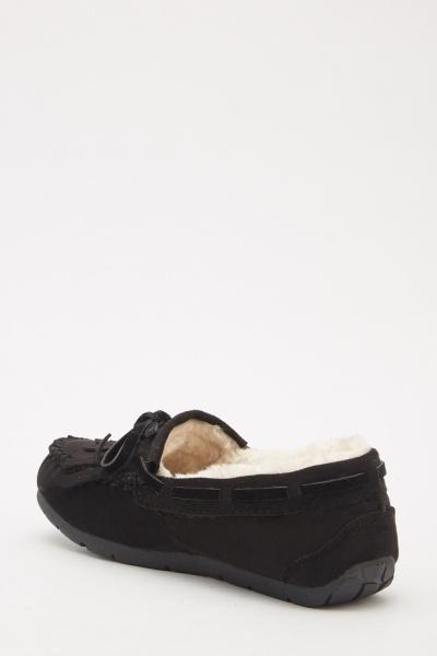 Suedette Tassel Front Slip On Shoes Black Or Pink Just 163 5