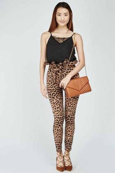 Belted Leopard Print Trousers