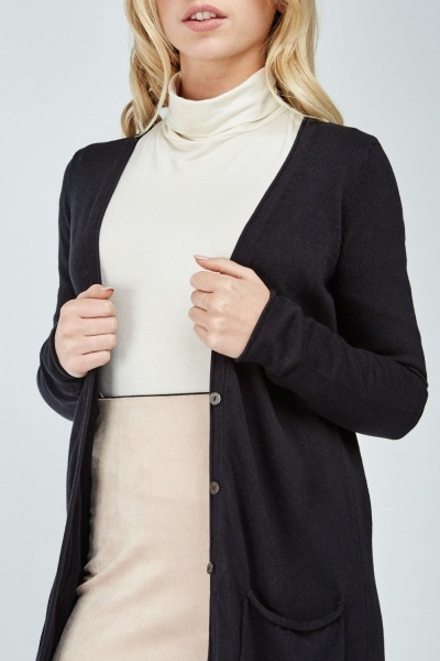 Button Up Long Ribbed Cardigan