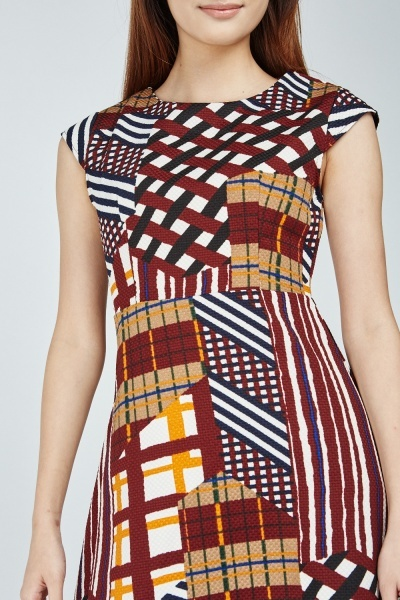 Cap Sleeve Mix Print Midi Dress