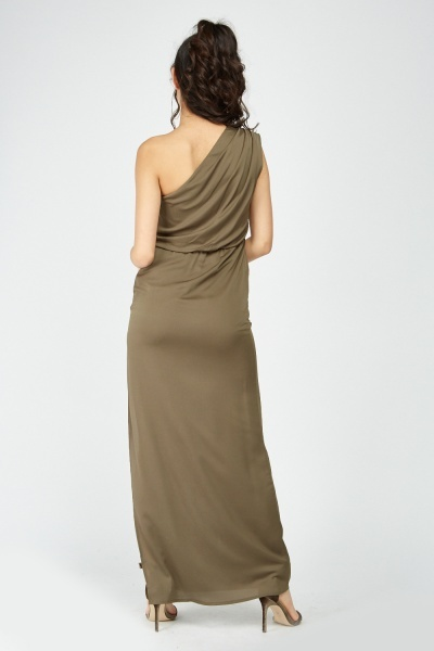 Draped One Shoulder Maxi Dress