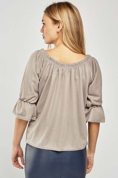 Bell Sleeve Ruched Trim Blouse