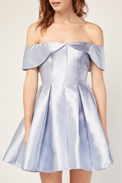 Box Pleated Sateen Bardot Dress