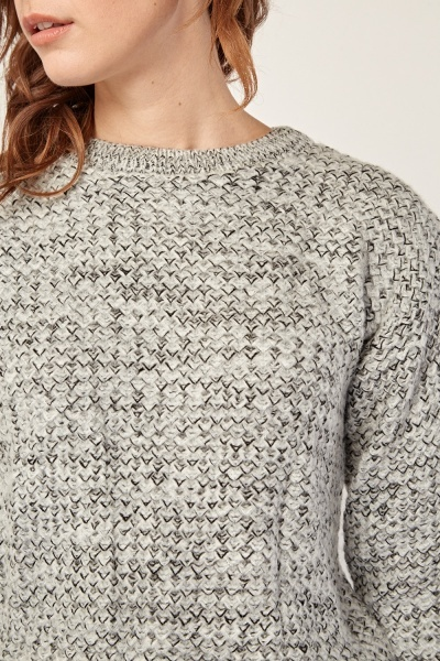 Contrasted Chunky Knit Jumper