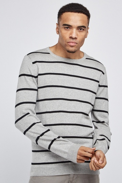 Crew Neck Striped Knit Jumper
