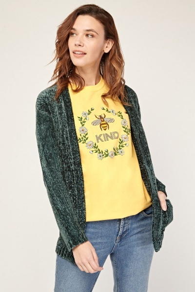Green Open Front Chenille Cardigan
