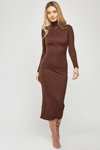 High Neck Midi Ribbed Dress