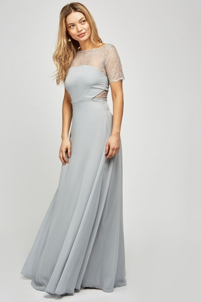 Lace Trim Chiffon Maxi Dress