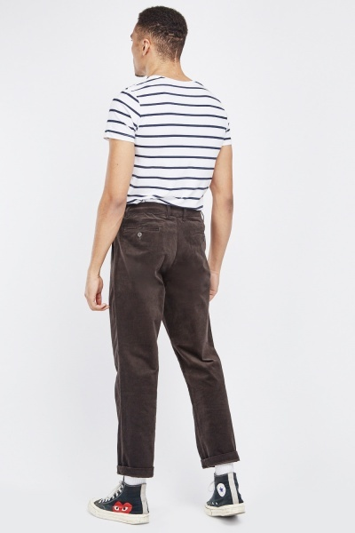 Straight Cut Crop Corduroy Trousers