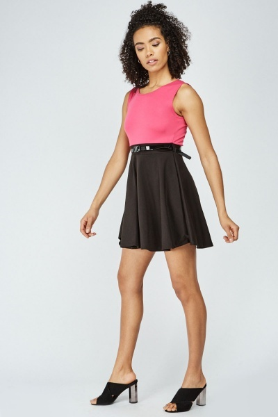 Two Tone Mini Swing Dress