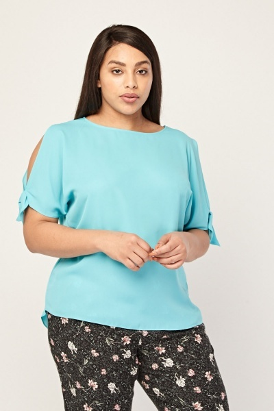 Cold Shoulder Sheer Blouse