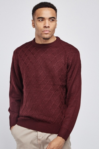 Diamond Pattern Maroon Jumper