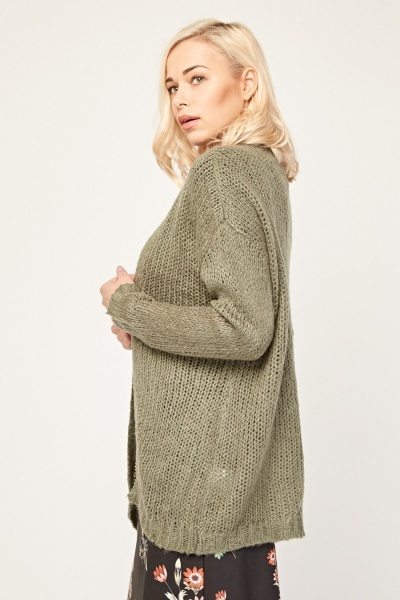 Loose Knitted Olive Cardigan