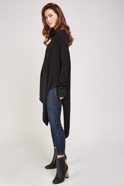 Roll Neck Asymmetric Knit Jumper