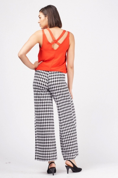 Wide Leg Houndstooth Trousers