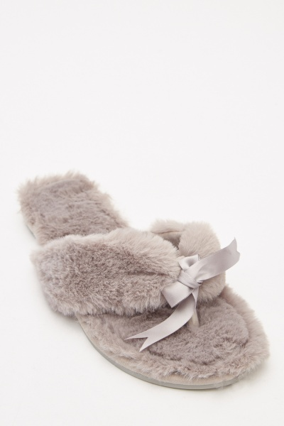 Bow Front Fluffy Indoor Slippers