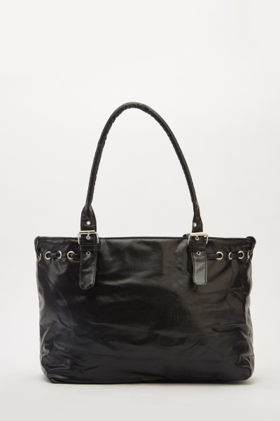 Faux Leather Front Detail Tote Bag