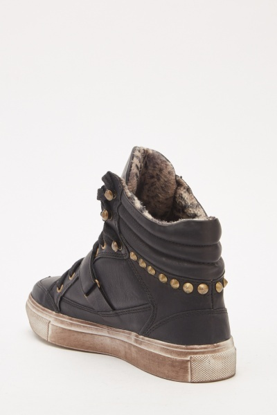 Faux Leather Studded High Top Sneakers